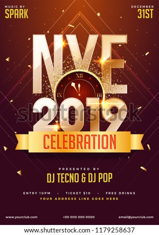 NYE (New Year Eve) 2019 Party Celebration template design with time and venue details. Royalty-Free Stock Photo #1179258637