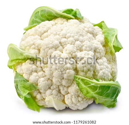 Raw cauliflower, whole vegetable. Fresh cauliflower, isolated on white background. #1179261082