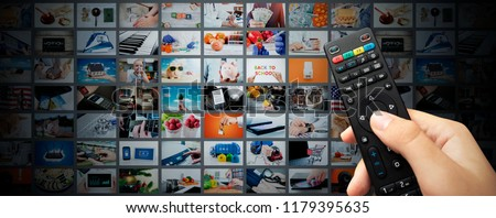 Multimedia video streaming web banner background. Television wall broadcasting concept #1179395635