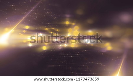 Abstract gold bokeh circles on a black background. Glamour illustration with particles and rays. #1179473659