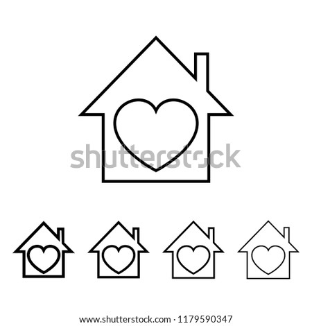 house with a heart icon in different thickness style. One of Valentine collection icon can be used for UI, UX on white background #1179590347