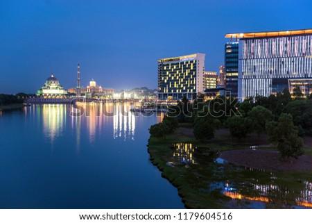 PUTRAJAYA,MALAYSIA. SEPTEMBER 8,2018: Beautiful city of Putrajaya during blue hour #1179604516