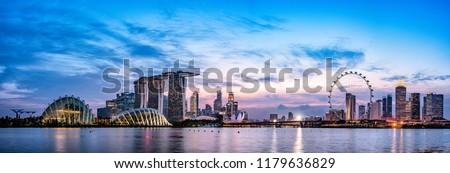 Singapore skyline at dusk #1179636829