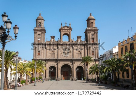 LAS PALMAS DE GRAN CANARIA, SPAIN – FEBRUARY 17, 2017: Views of the Cathedral of Santa Ana, It is considered the most important monument of Canarian religious architecture #1179729442
