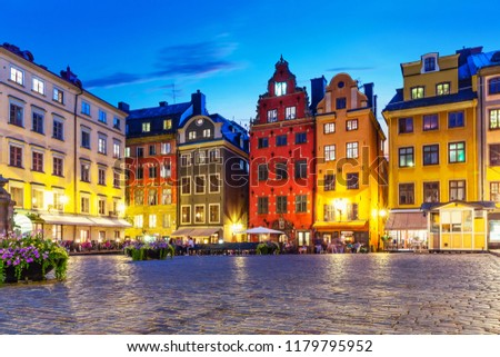 Scenic summer night view of the Big Square (Stortorget) in the Old Town (Gamla Stan) in Stockholm, Sweden #1179795952