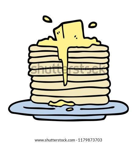 hand drawn doodle style cartoon butter melting on pancakes