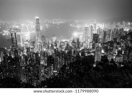 hong kong peak view ultra wide bw #1179988090