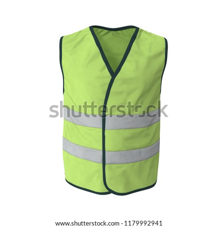 Yellow High Visibility Safety Jacket. Isolated 3D Illustration On White Background #1179992941