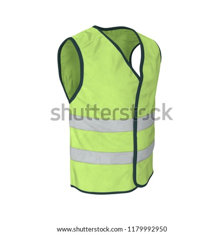 Yellow High Visibility Safety Jacket. Isolated 3D Illustration On White Background #1179992950