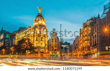 Madrid city skyline gran via street twilight , Spain #1180071199