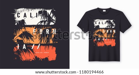 California Ocean side stylish t-shirt and apparel trendy design with palm trees silhouettes, typography, print, vector illustration. Global swatches. Royalty-Free Stock Photo #1180194466