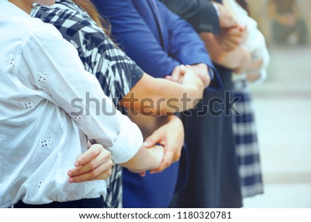 Business teamwork join hands together. #1180320781