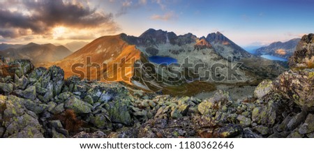 Panorama of mountain landscape at summer in Tatras at sunset in Slovakia #1180362646