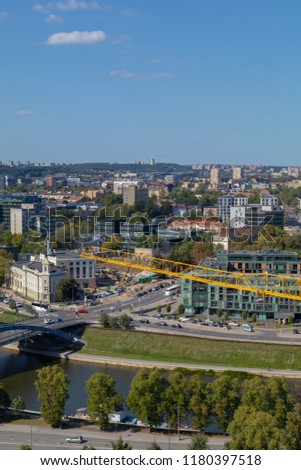 VILNIUS, LITHUANIA - AUGUST 27, 2018: View of the city of Vilnius from the tower in the center of the city. #1180397518