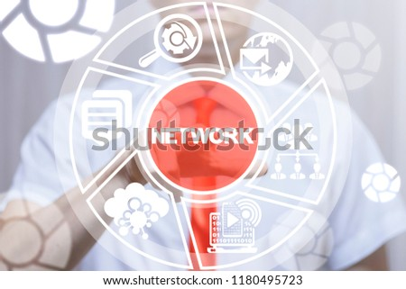 Man clicks a network word button on a virtual round panel. Connection Network Social Cloud Business Communication Technology. Networking and Interaction concept. #1180495723