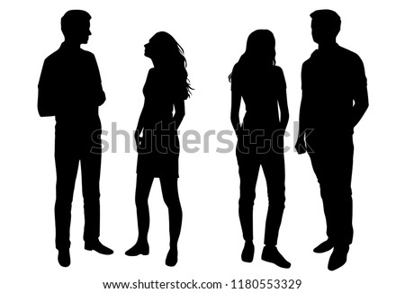 Vector silhouettes man and woman, couple,  business people, group , standing,  black color, isolated on white background Royalty-Free Stock Photo #1180553329