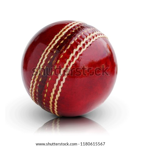 Cricket ball leather hard circle stitch close-up new isolated on white background. This has clipping path.  The   outdoor sport team Popular in Australia, Bangladesh, England and India. #1180615567