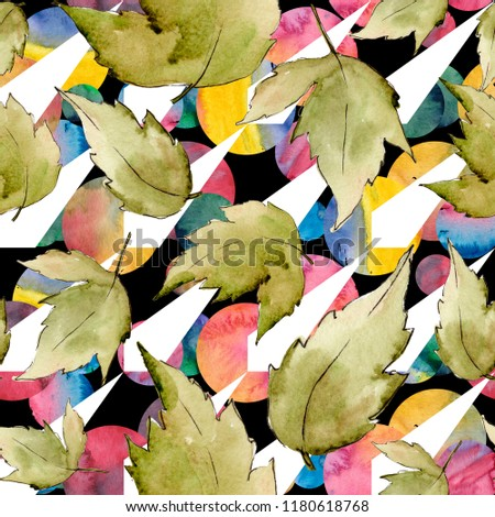 Green maple leaves. Leaf plant botanical garden floral foliage. Seamless background pattern. Fabric wallpaper print texture. Aquarelle leaf for background, texture, wrapper pattern, frame or border. #1180618768