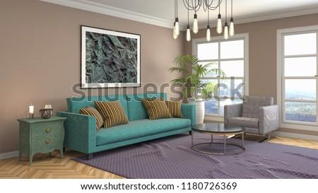 Interior of the living room. 3D illustration #1180726369
