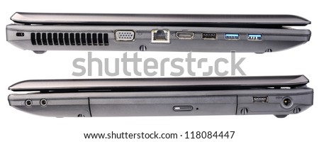 Set of closed laptop's right and left views isolated on the white #118084447