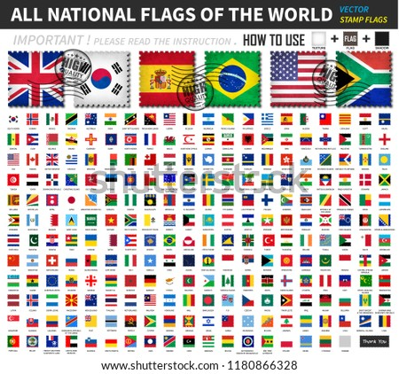 All official national flags of the world . Old stamp shape design with scratch and abrasion texture . You can apply and edit these elements ( 3 main object are texture , flag and shadow  ). Vector . #1180866328