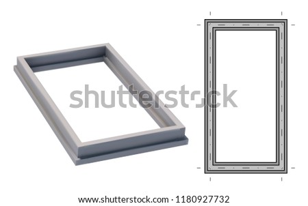 Blueprint and 3D image strip foundation. Concrete structure. Vector illustration #1180927732