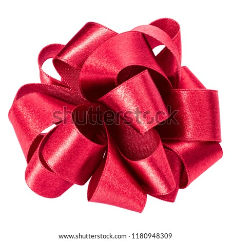 big round bow in red color isolated on white background close up #1180948309