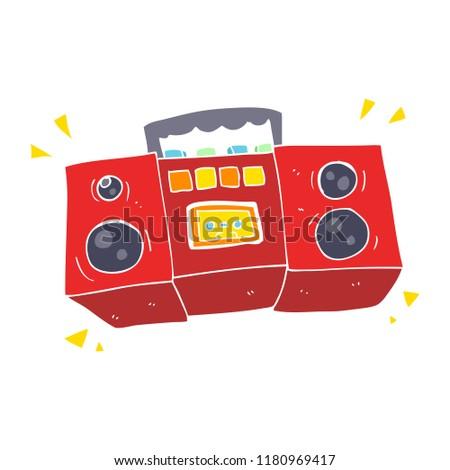 flat color illustration of cassette tape player