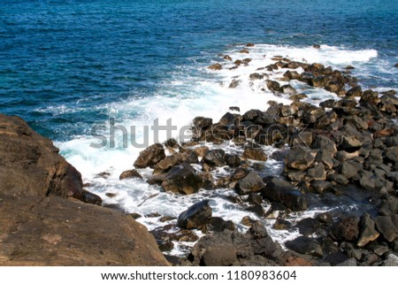 Waves on the coast of Lanzarote, Canary Islands #1180983604