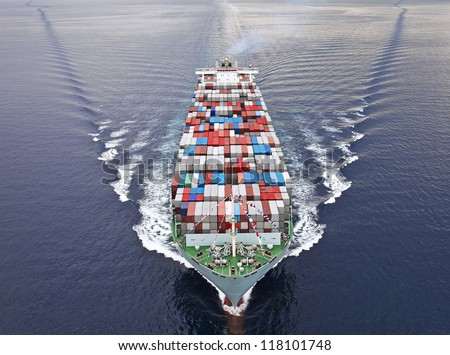 Aerial view of a Cargo vessel. Royalty-Free Stock Photo #118101748