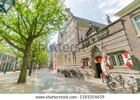 Exterior view of the historical Het Weeshuis at Leiden, Netherlands #1181054659