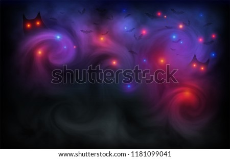 Halloween scary vector dark background with magic red and blue lights evil eyes, owls and bats silhouettes in mystic fog.