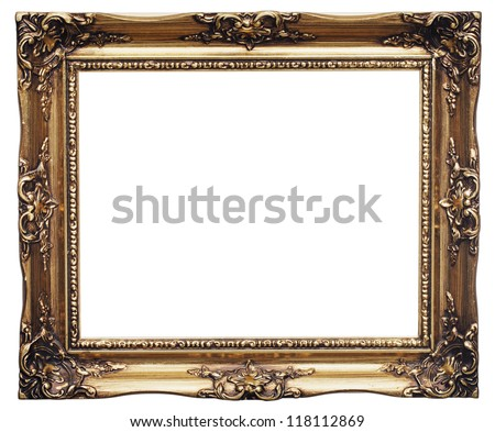 Antique look gold color picture frame isolated on white.