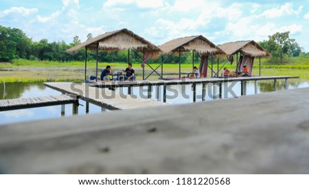 KHON KAEN,THAILAND: 16 SEPT 2018: Traditional wooden bridge made from bamboo in the middle of green rice plantation and water in Khon kaen province, Thailand #1181220568