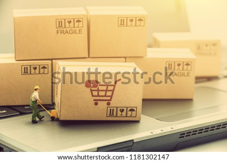 Supply chain / logistic distributor and delivery service concept : Small miniature shipping agent uses a weighing hand pallet truck moves a cardboard box / carton on a laptop for dispatch to customers #1181302147
