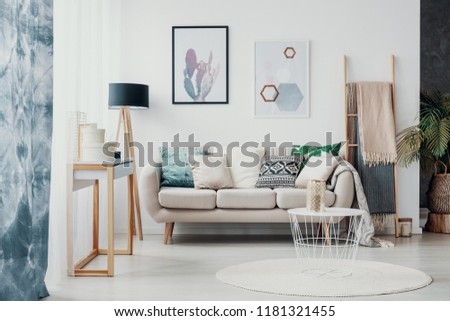 Posters above sofa with pillows in bright living room interior with drapes and round rug. Real photo #1181321455