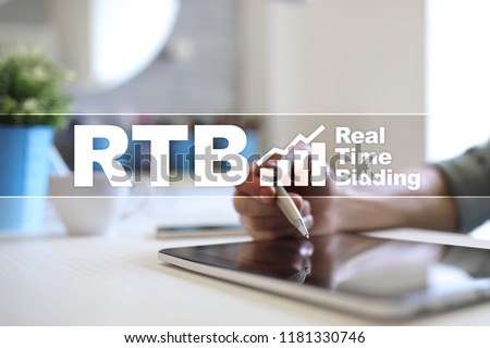 RTB - Real-time bidding on virtual screen, business concept. #1181330746