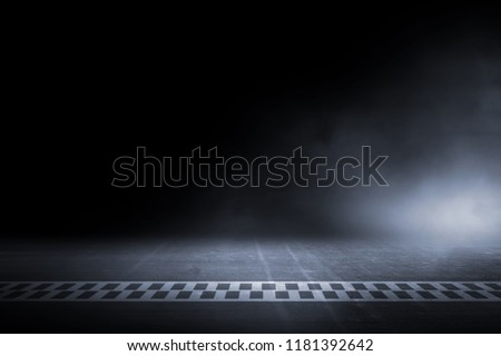 Race track finish line racing on night