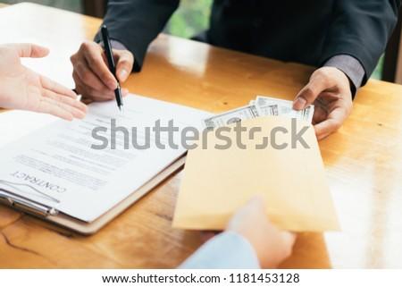 Anti bribery and Anti Corruption concepts. Businessman refusing bribe. #1181453128
