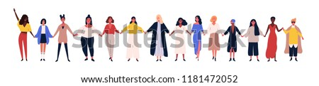 Happy women or girls standing together and holding hands. Group of female friends, union of feminists, sisterhood. Flat cartoon characters isolated on white background. Colorful vector illustration. Royalty-Free Stock Photo #1181472052