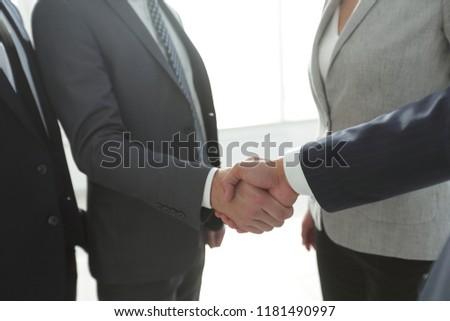 closeup.handshake of business people #1181490997