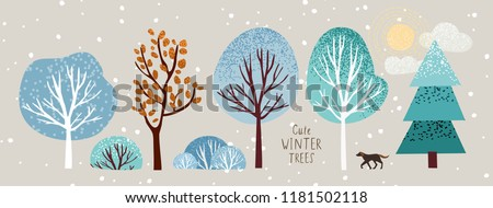 cute winter trees, vector isolated illustration of trees, leaves, fir trees, shrubs, sun, snow and clouds, New Year and Christmas objects and elements of nature to create a landscape Royalty-Free Stock Photo #1181502118