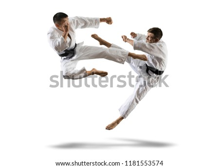 Martial arts masters, karate practice. Isolated background Royalty-Free Stock Photo #1181553574