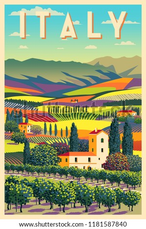 Romantic rural landscape in sunny day in Italy with vineyards, farms, meadows, fields and trees in the background. Handmade drawing vector illustration. Flat design. Poster in the Art Deco style. #1181587840