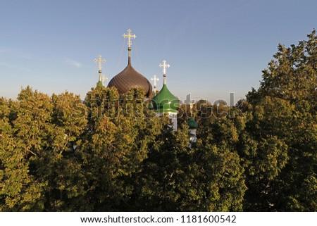 Aerial view of Feodorovsky women monastery in Pereslavl-Zalessky city, Yaroslavl region, Russia #1181600542