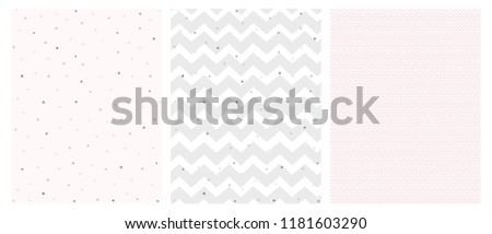 Set of 3 Bright Delicate Chevron and Dots Vector Patterns. Irregular Tiny Dots Pattern. Grey and Pink Chevron Designs. White, Gray and Pink Pastel Colors. Cute Hand Drawn Geometric Vector Patterns.