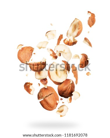 Hazelnuts crushed into pieces, frozen in the air on a white background #1181692078