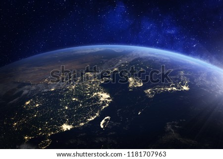 Asia at night from space with city lights showing human activity in China, Japan, South Korea, Hong Kong, Taiwan and other countries, 3d rendering of planet Earth, elements from NASA #1181707963