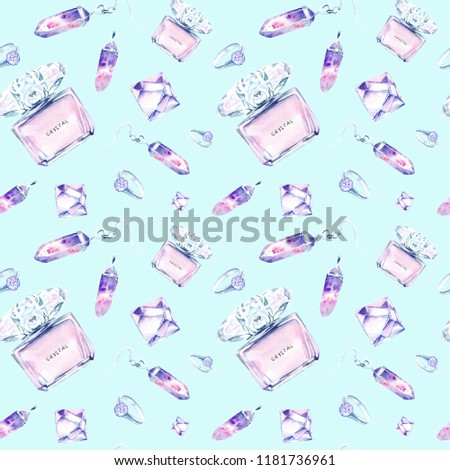 watercolor drawings of crystals, jewelry made of crystals, perfume. seamless pattern #1181736961