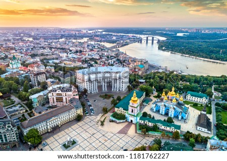 Aerial view of St. Michael Golden-Domed Monastery, Ministry of Foreign Affairs and the Dnieper River in Kiev - Ukraine, Eastern Europe Royalty-Free Stock Photo #1181762227